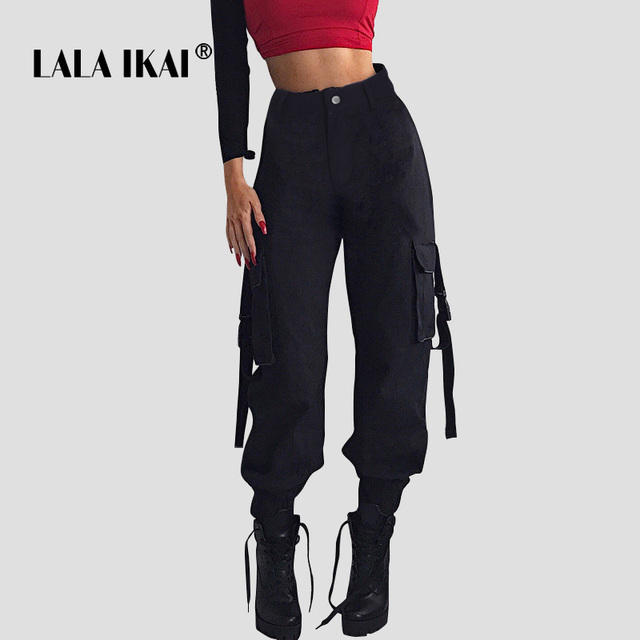 b7e96d99485 LALA IKAI Ins High Street Cargo Pants Women Black Multi Pockets Loose Belt  Trousers Ladies Hip