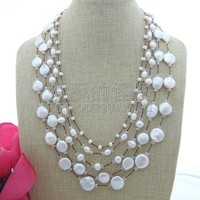 N082607 20 5 Strands Multi shape White Pearl Crystal Necklace