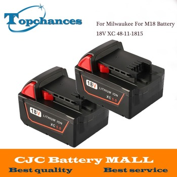 2PCS High Quality 5000mAh 18V Li-Ion Replacement Power Tool Battery For Milwaukee For M18 XC 48-11-1815