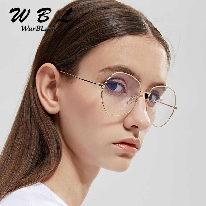 Warblade Pria Wanita Lensa Kacamata Retro Bingkai Logam Wrap Kucing Mata Bingkai Kacamata Unisex Hitam Padat Kacamata