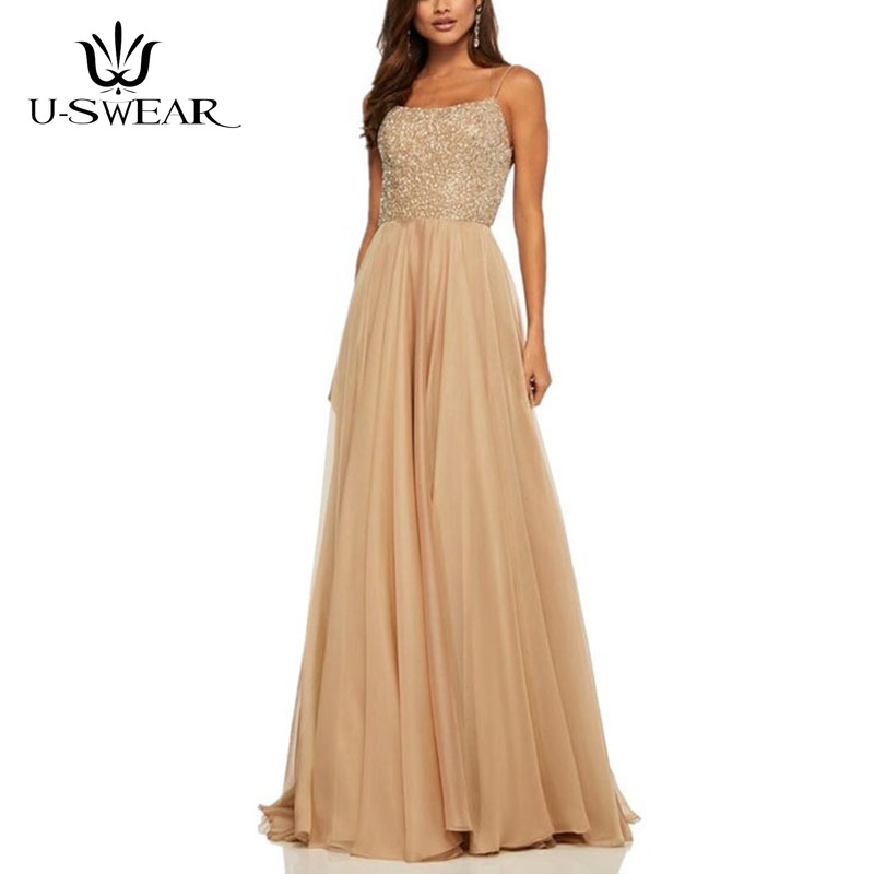 U-SWEAR Sexy Boat Neck Backless Sleeveless Sequin Evening Party Prom Formal Gowns Long Slim Dresses Vestido Robe Ceremonie Femme