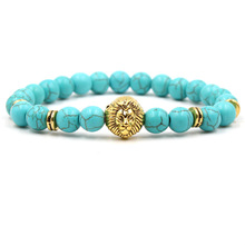 9 Styles Natural Stone Beads Bracelet Gold Metal Lion Head Charms Balance Lava Stone Buddha Prayer Stretch Yoga Bracelet Jewelry