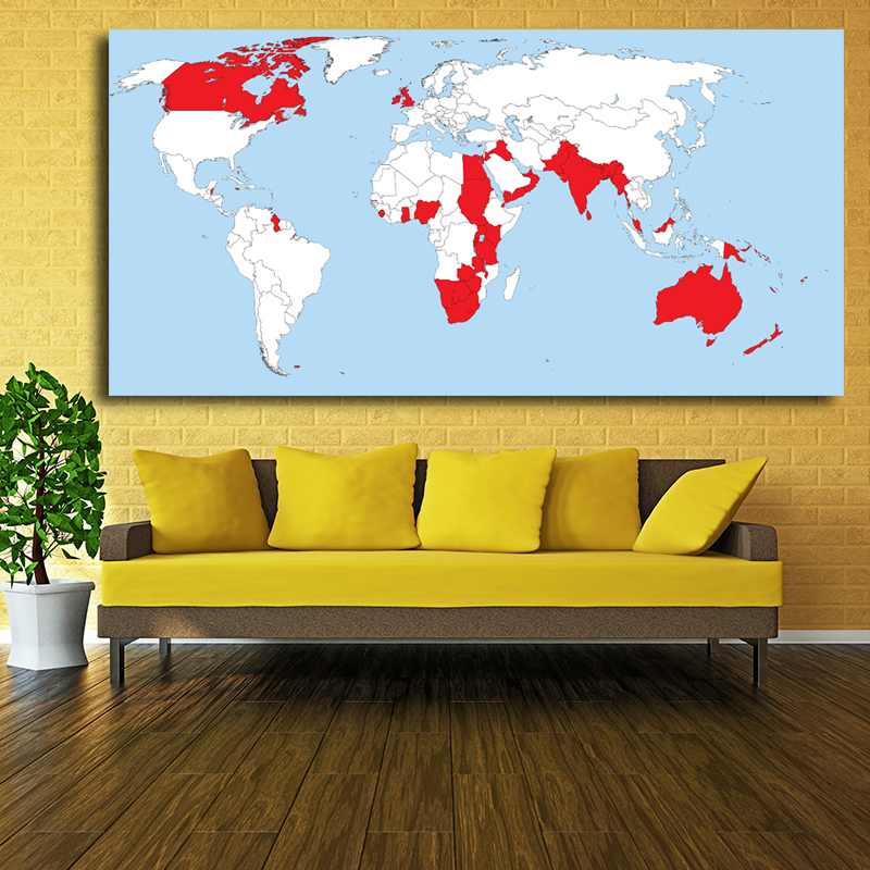 Mordern red white classic world map for poster decorative painting mordern red white classic world map for poster decorative painting core british empire prints oil paintings on canvas in painting calligraphy from home gumiabroncs Gallery