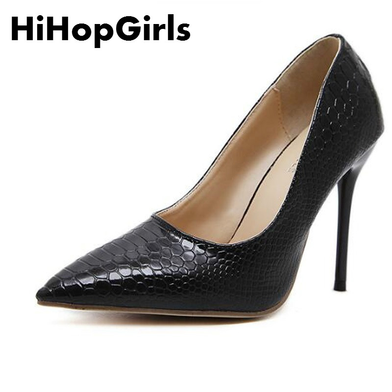 HiHopGirls 2017 New Gladiator Spring Autumn Fashion Women Pumps Pointed Toe snake Lines Thin High Heels Shoes Woman new fashion woman flats spring summer women shoes top quality strappy women sandals suede pointed toe gladiator ballet pumps