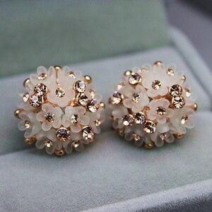 2019 New Fashion Wedding Jewelry For Women,Gold color Austrian Crystal Enamel Flower Stud Earrings Fashion Female Earrings