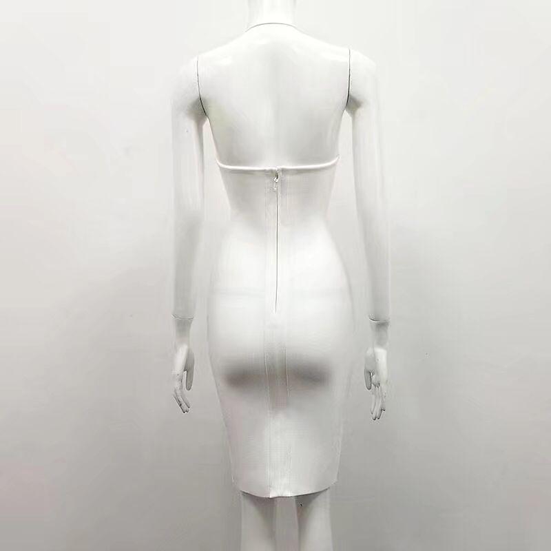 2018 Designer blanc Celebrity Robe Femmes Élégante Noir Rayonne À Sexy Paillettes Les Blanc Nouveautés Pour Moulante Dames Party Bandage 1zqnvv