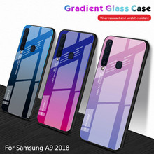Case For Samsung Galaxy A9 2018 Gradient Tempered Glass Soft TPU Silicone Frame Hard Back Cover for A920 case