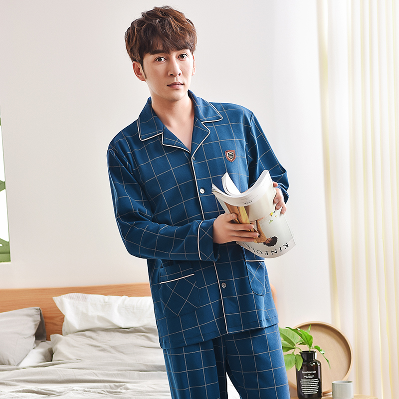 J&Q 2019 New 100% Cotton Mens Sleepwear Pyjama Homme Pajamas Men  Pajama Set  Lapel Cardigan Pijama 2 Pcs Long Sleeves Home Wear