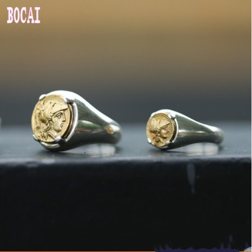 Ancient Greek Coin God Of War Athena Vintage European 925 Sterling Silver Ring Classical Tail Ring