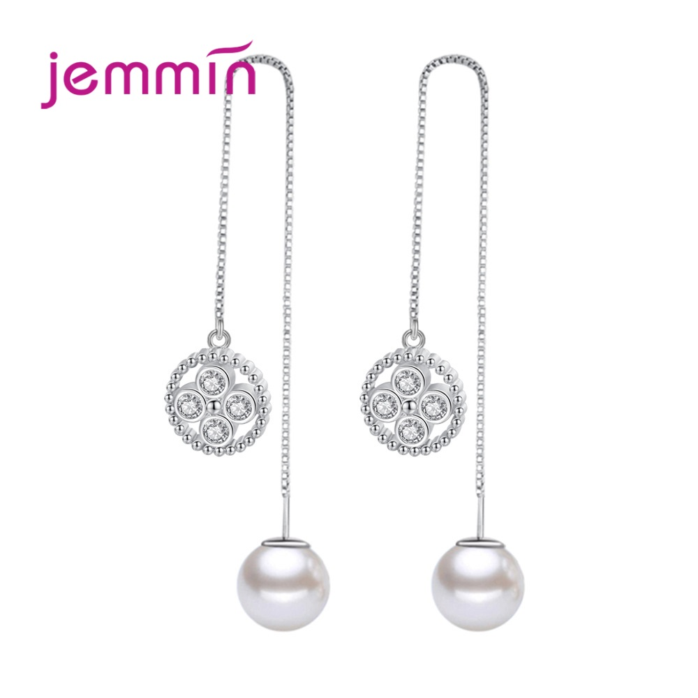 New Arrival S90 Trendy Dangle Earrings Imitated Pearl Customized Sparkling Cubic Zirconia Women Girls Party Appointment