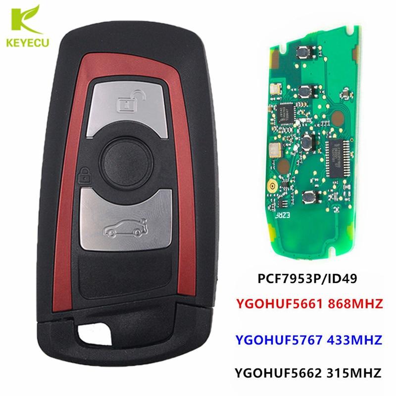 KEYECU Red Smart Remote Key Fob 315MHz YGOHUF5662,434MHz HUF5767,868 MHz HUF5661 For BMW F Chass 5 7 Series FEM / BDC CAS4 CAS4+