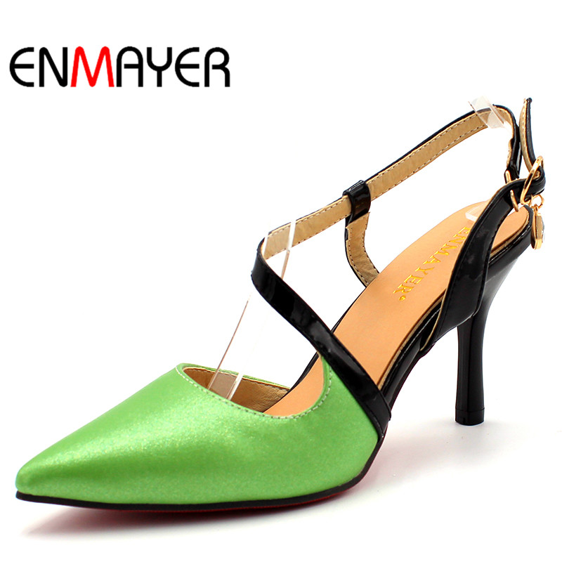 ENMAYER Fashion Pointed Toe Pumps Spring/Autumn Sexy Women Shoes Lady Slingbacks Pumps Women Thin Heels Party Shoes Plus Size siketu 2017 free shipping spring and autumn women shoes fashion sex high heels shoes red wedding shoes pumps g107