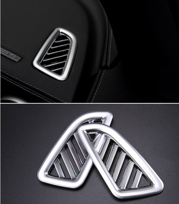 Car Interior Air Conditioning Outlet Decorative Frame Cover Trim For Mercedes Benz New C-Class GLC Chrome ABS Air Vents Decals