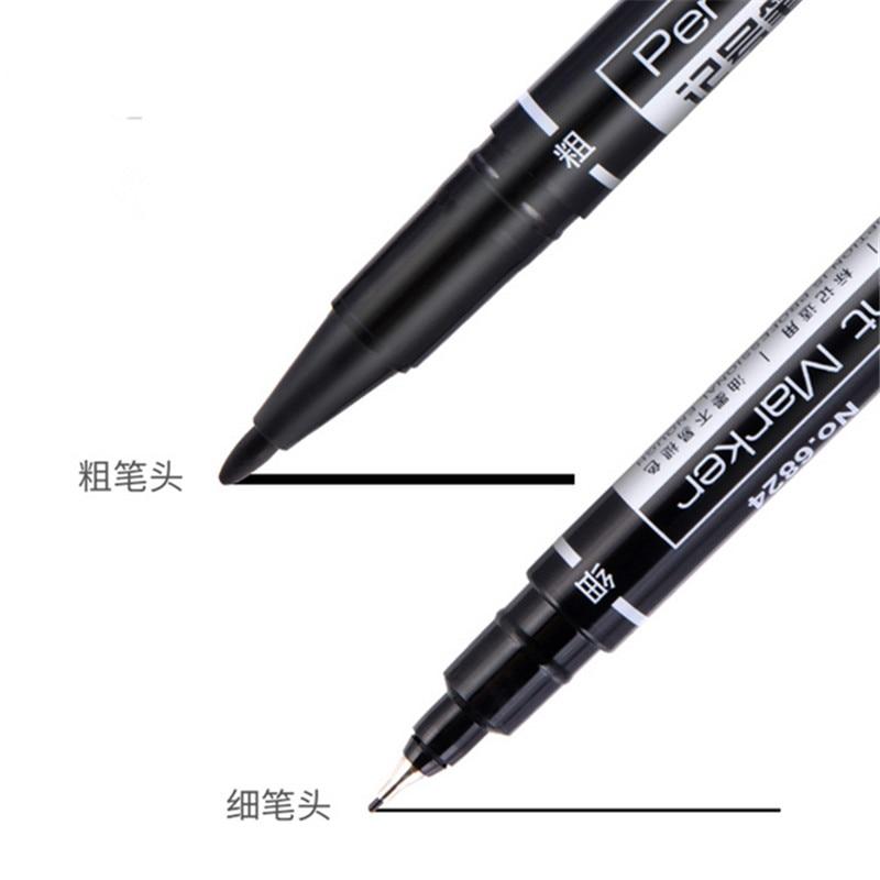 High quality 6824 Waterproof permanent dual tip  0.5/1.0 mm Nib Black blue red Art Marker Pens Student school office stationery 5