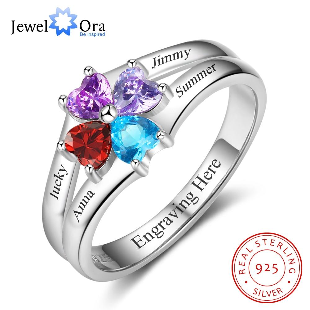 cc0bb10d5597 Anillo de la familia personalizado 4 piedra grabar 4 nombre anillos para  mamá 925 de plata esterlina joyería de aniversario (JewelOra RI102986) ...