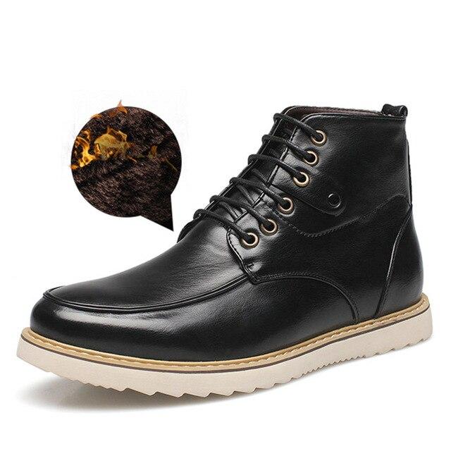 Felpa corta de Invierno Botas de Nieve Caliente con Cordones Botas Impermeables de Cuero Genuino Para Hombre Invierno Calzado Sapato masculino Chaussure Homme
