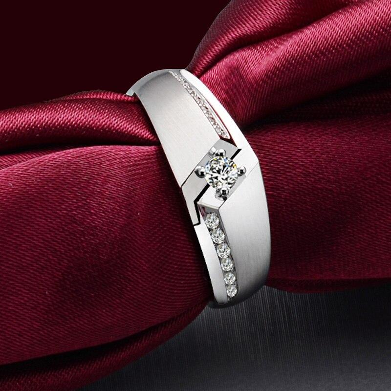 Diamond Wedding Ring for Men 0.08+0.07ct Natural Diamond Solid 18K White Gold Handmade Engagement Jewelry