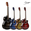 40 inch Acoustic Guitar Black Red Yellow Blue Tiger flame Printed Basswood Body Rosewood Fingerboard Musical Instrument Bag