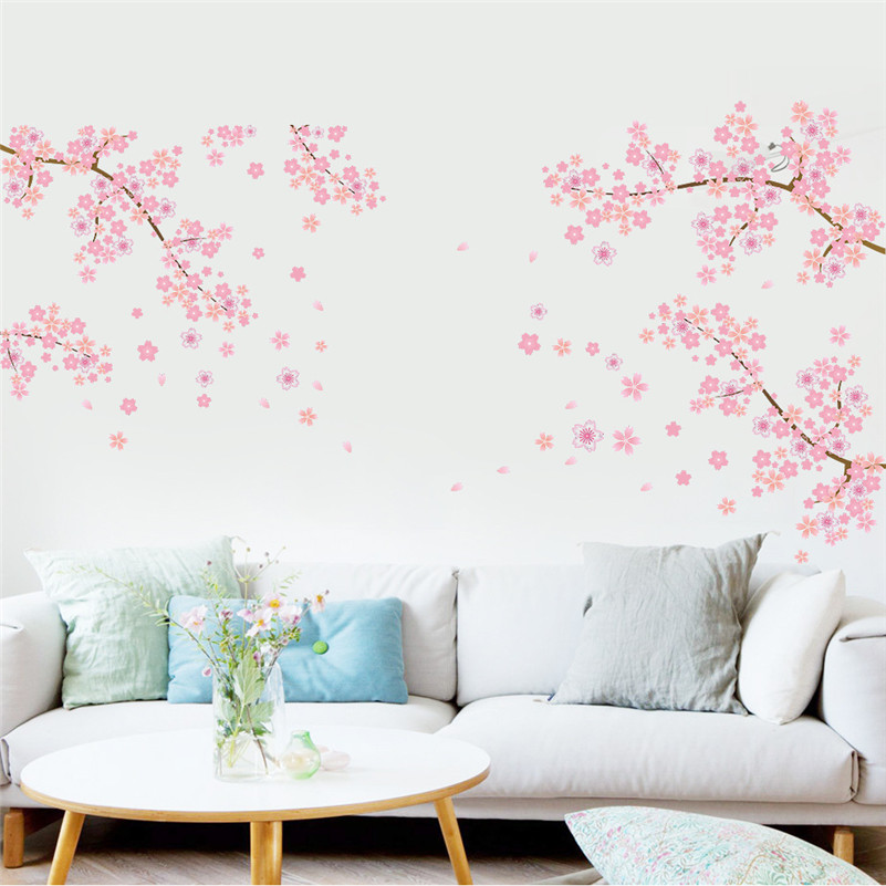 Wall stickers plum blossom flower sakura diy art tree for Beautiful bedroom wall decor