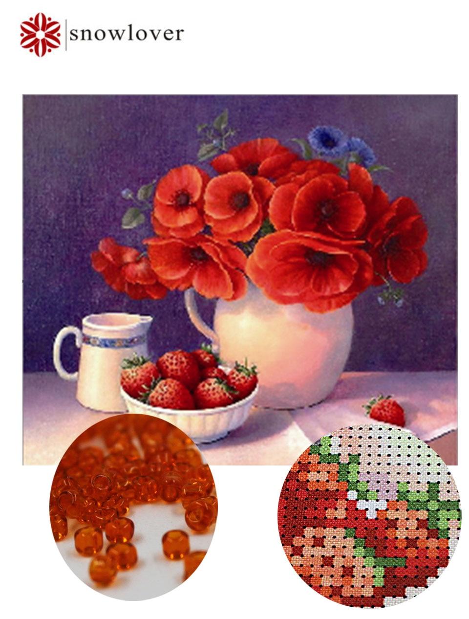 Snowlover, kralen, Handwerken, DIY kraal Kruissteek, Borduurpakketten kruissteek, Nauwkeurig gedrukt bloemenpatroon, kerstcadeaus
