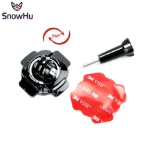 цена на SnowHu for GoPro Accessories 360 Degrees Rotation Sticker Bent Arm Mount Helmet For Go Pro Hero 7 6 5 4 3+ for Xiaomi Yi 4K GP92