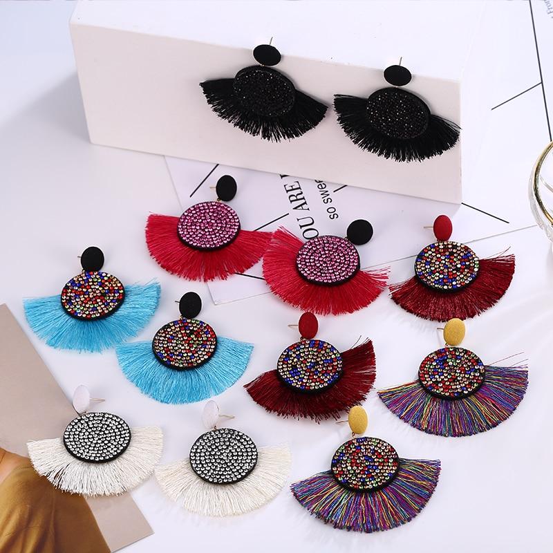 2019 Fashion Tassel Earrings Bohemian Statement Long Drop Earring Handmade Brincos Drop Dangle for Women Za Jewelry in Drop Earrings from Jewelry Accessories