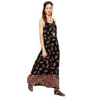 MSL 2017 New Summer Dress Vintage Print Chiffon Maxi Dresses Robe Lady Spaghetti Strap Floor Length