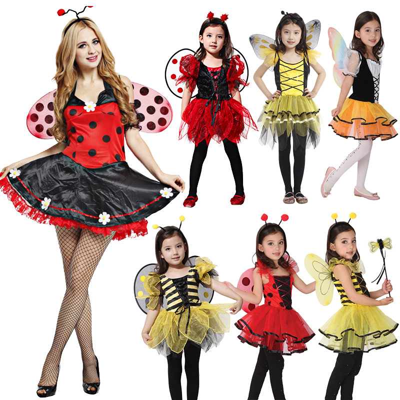 Halloween Women Kids Cute lady bug honeybee fairy for kids girls dresses up Fancy Masquerade Party Dragonfly Dance image