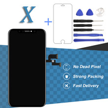 1pc Grade LCD 5.8 Inch For Apple iPhone X LCD Display Touch Screen Digitizer Assembly Replacement Black + Tempered Glass + Tool