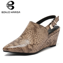 BONJOMARISA 2019 New Arrival Hot Sale Snake Veins Women Summer Sandals Large Size 34-43 Pointed Toe Wedges Shoes Woman