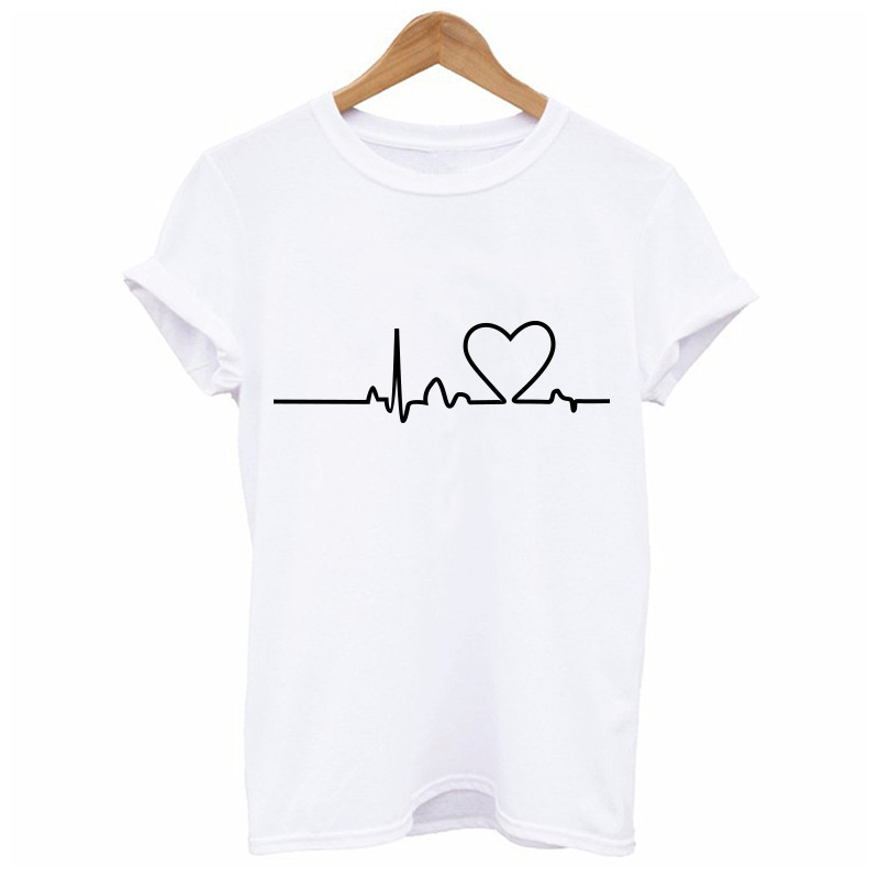 Couples Lovers T-Shirt for Women Love Heart Embroidery Print T-Shirt Female 47