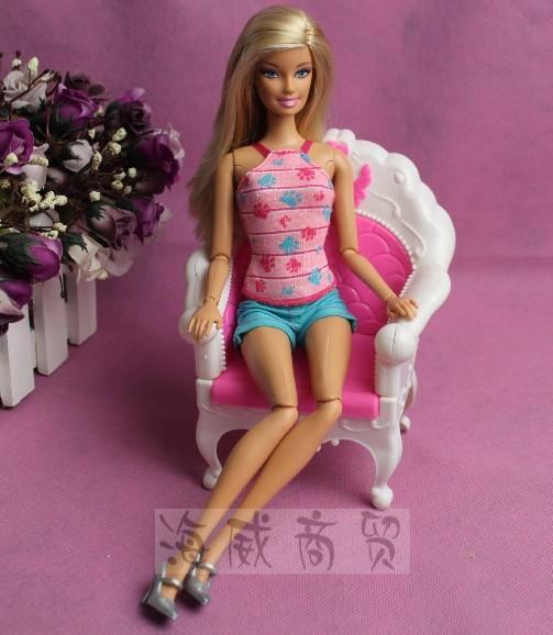 Hadiah kanak-kanak plastik sofa vintaj meja sofa sofa 6 item / Set - Anak patung dan aksesori - Foto 5