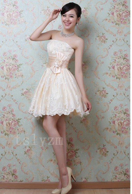 Free shipping new fashion ladies sexy designer strapless short bridesmaid dress bride evening wedding dress / party dress