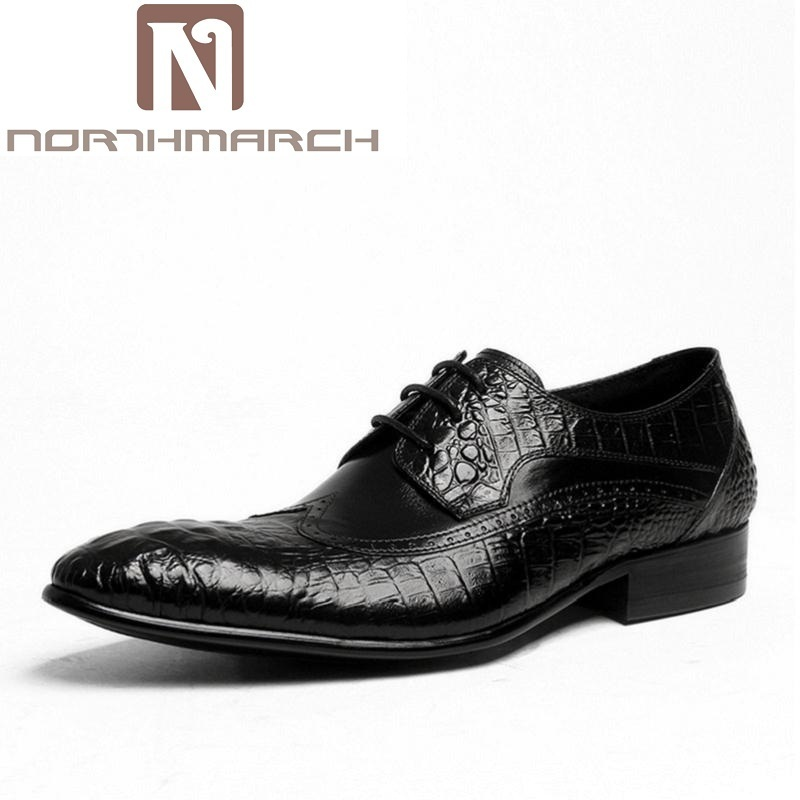 NORTHMARCH Spring/Autumn Red/Black Crocodile Pattern Mens Genuine Leather Men Shoes Pointed Toe Designer Brogue Dress Shoes NORTHMARCH Spring/Autumn Red/Black Crocodile Pattern Mens Genuine Leather Men Shoes Pointed Toe Designer Brogue Dress Shoes