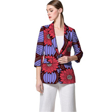 Women Fashion African Blazer Female Pattern Printed Suit Outwear Outfits Half Sleeve Lady Dashiki Clothes