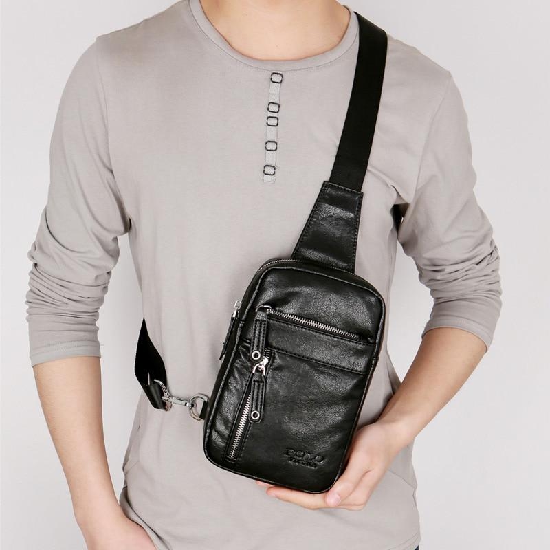 VICUNA POLO Theftproof Vintage Leather Brand Men Messenger Bag Men's Sling Bag With Headphone Hole Large Capacity Man Chest Bag 2