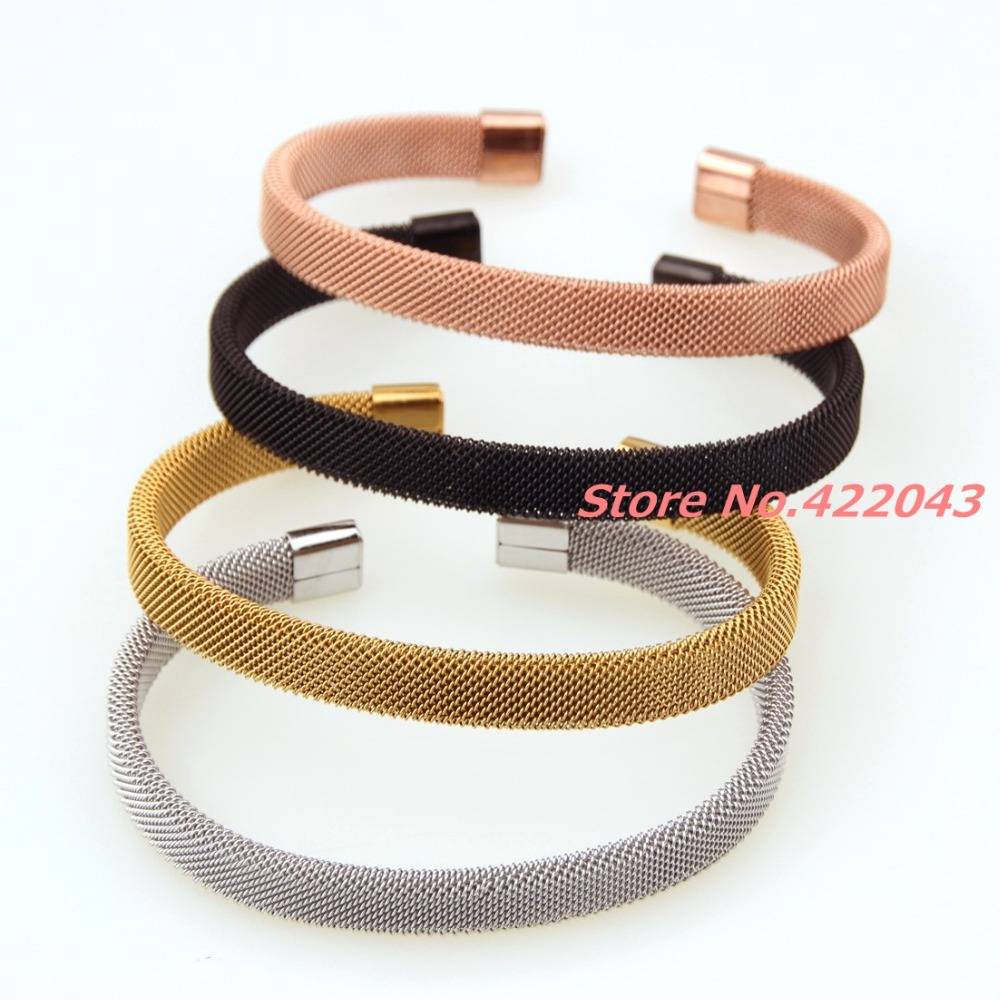 7.08 * 8MM Fashion Mens Womens 316L Stainless Steel Silver/Rose Gold/Gold/Black Open End Clasp Cable Wire Mesh Bracelet Jewelry
