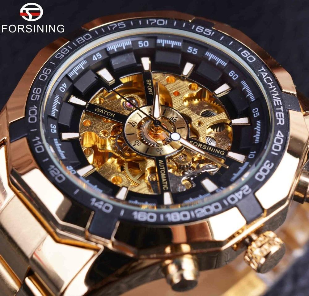 711f0caf807 Forsining Homens Assistir Top Marca de Luxo Completa de Ouro Homens Relógio  Esqueleto Mecânico Dos Homens Relógio Do Esporte Relógio de Designer de Moda  ...