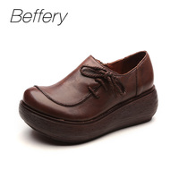 Beffery 2018 Spring Summer Style Genuine Leather Flat Platform Shoes Women Retro Round Toe Ultra Soft
