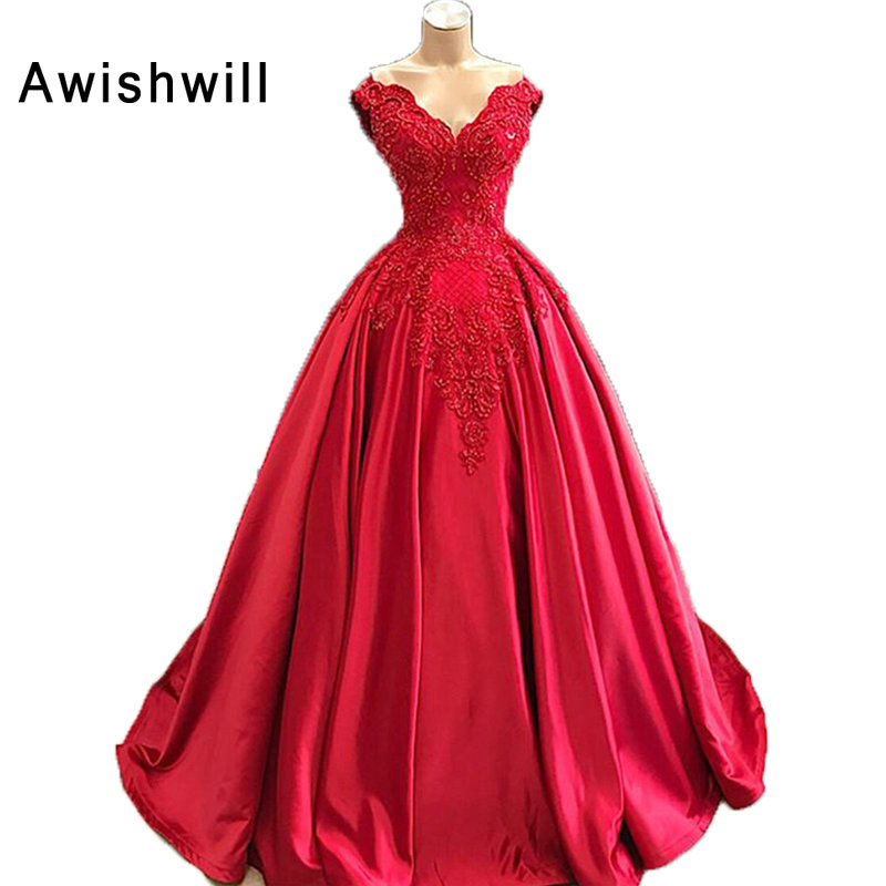 Newest Ball Gown Long Evening Dresses Elegant Satin Vestido De Festa Cap Sleeve Beadings Red Party Formal Prom Dress Women