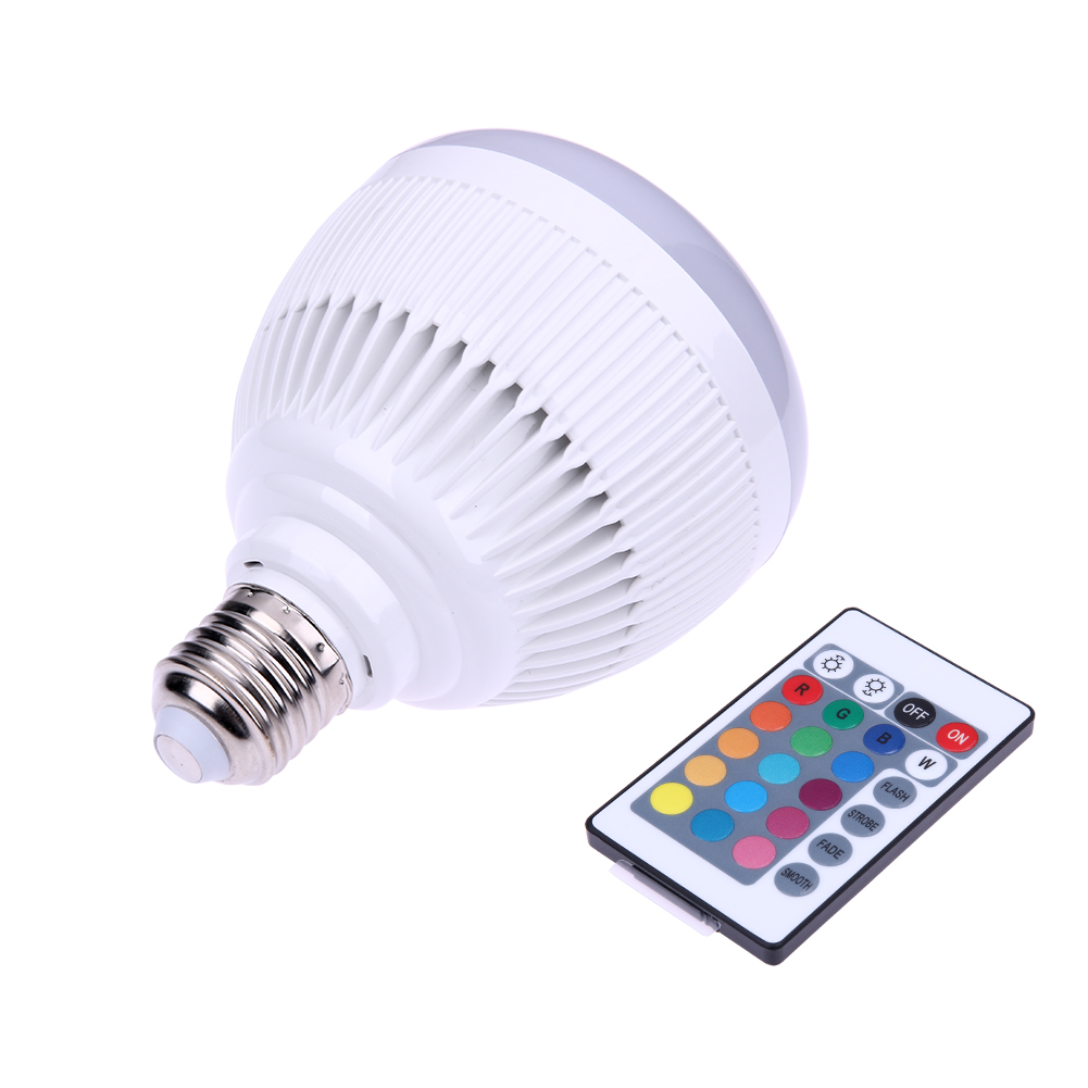 Smart RGBW Wireless Bluetooth3.0 Speaker Bulb Music Playing Dimmable 12W E27 LED Bulb Light Lamp with 24 Keys 10m Remote Control szyoumy smart rgbw wireless bluetooth speaker bulb music playing dimmable 12w e27 led bulb light lamp with 24 key remote control