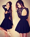 Black Sexy Long Sleeve Lace Cocktail Dresses Short Backless Ladies Beautiful Prom Coctail Dress Mini Hot Sell Elegant Dresses