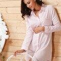 2016 Marca Listrado Camisolas De Algodão Sleepwear Feminino Salão Sono Das Mulheres Roupa Interior Sexy Pink Vestido de Casa Camisola
