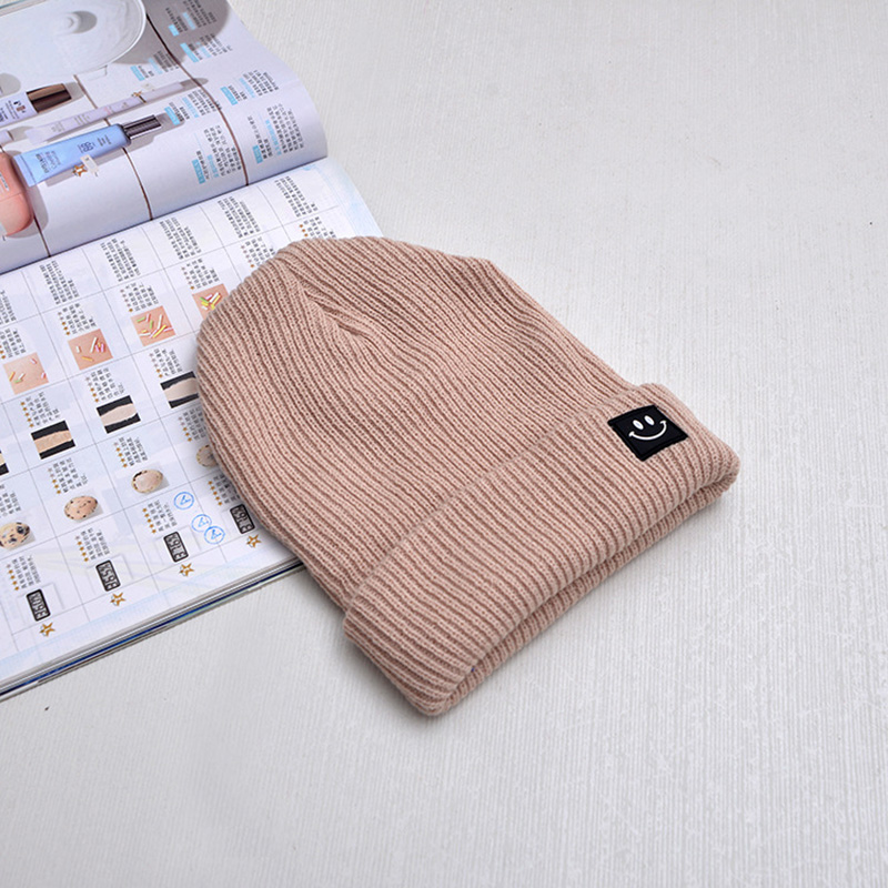 Cute Smile Crochet Knit Cap Beanie 2019 Autumn New Solid Warm Skullies Beanies Caps Female Knitted Hat Ladies Girls Winter Hats 2