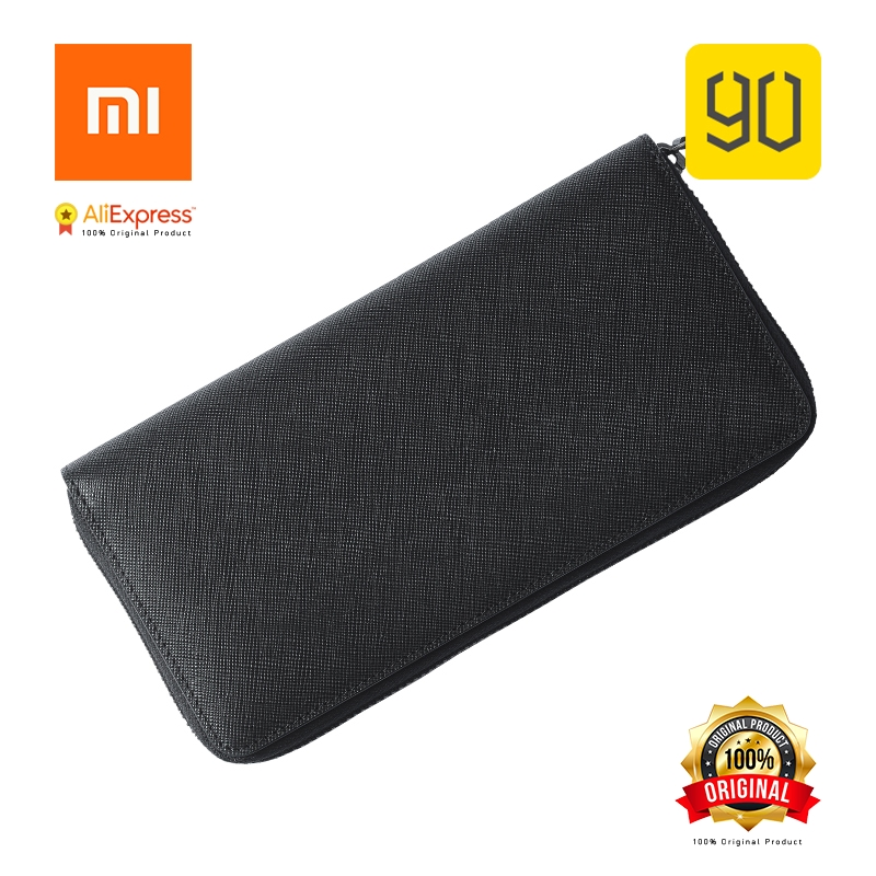 Xiaomi Original Eco-chain 90FUN Concise Business Casual Long Wallet Safiano Genuine Leather for Man
