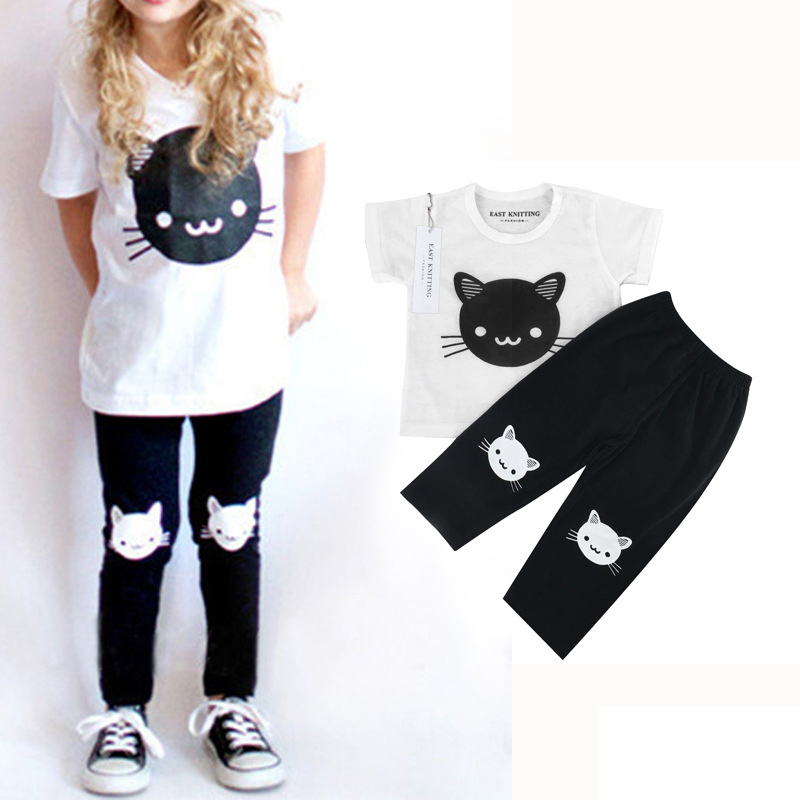 2018 Cute Cat Baby Girls Outfits Sets Kitty Short Sleeve Shirt And Black Pants Set For Baby Girls Suit Fashion Children Clothing
