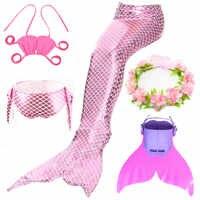 5pcs/set Mermaid Tail for girls Swimming Bikini Suit Halloween Little Costume Cosplay Swimwear kids Children Swimsuit