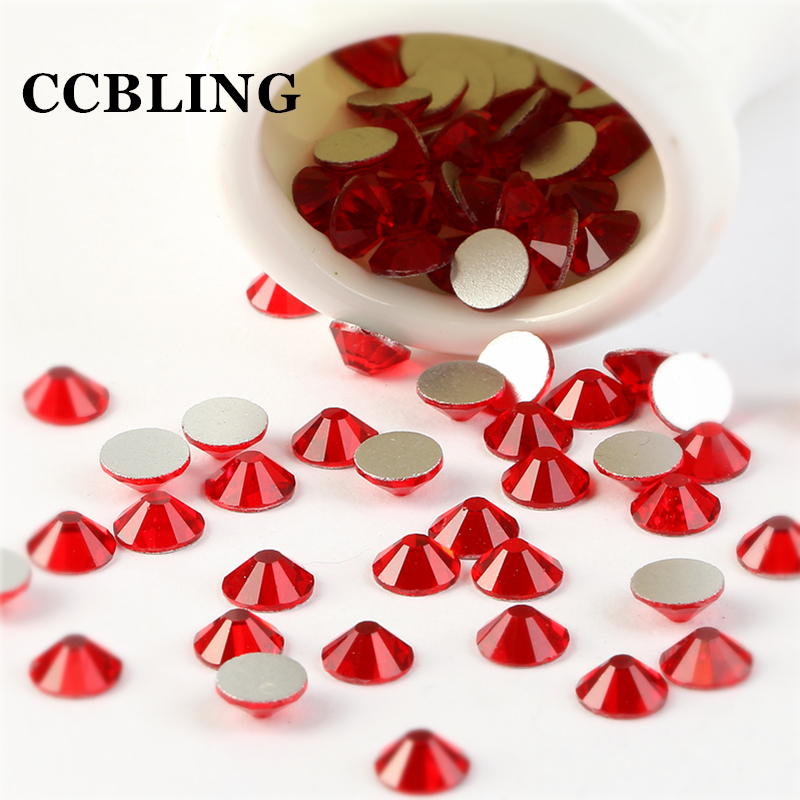 CCBLING ss3 -ss30 Flat Back Crystal Light Siam 3d Nail Art Crystal Decorations ) Non Hot Fix Glue on Rhinestones for Nails Stone nail tool glass flat back nail art crystal ab glue on non hotfix rhinestones for nails diy nail accessori decorations