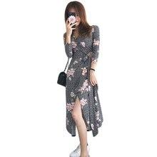 2017 Femmes D'été de Vacances Long Beach Casual Robe Dames V-cou Imprimé floral Maxi Wrap Robes Robe Longue Femme Ete