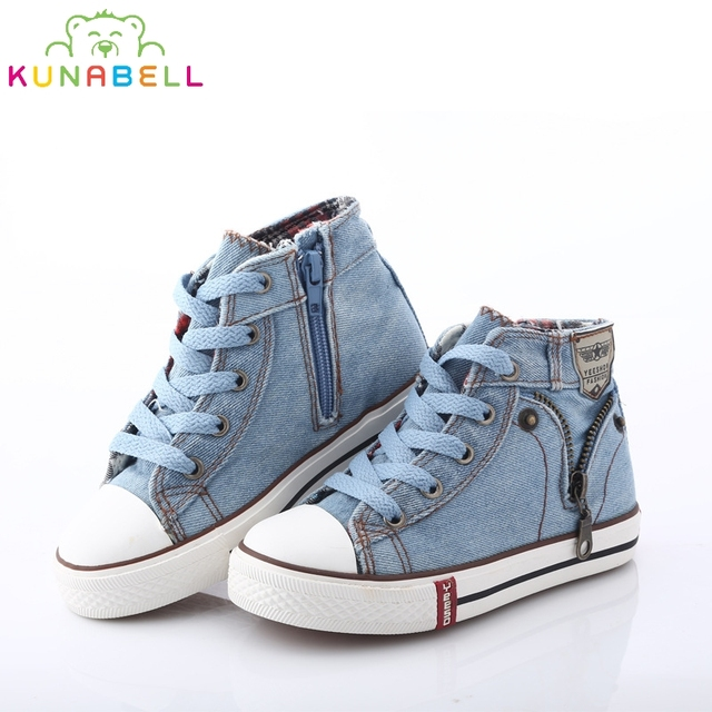 2018 New Arrival Children Casual Shoes Kids Canvas Sneakers Boys Jeans Flats  Girls Boots Denim Side Zipper Shoes Size 25 37 92509cd3479